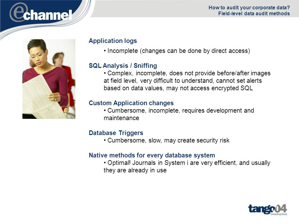 New Tango/04 Data Monitor Use this data firewall to implement custom data auditing controls –All changes to a sensitive table –Detect DFU/SQL changes –Who changed the SALARY table while logged in as a powerful user.