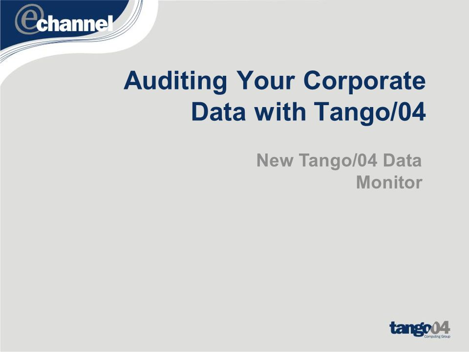 New Tango/04 Data Monitor Easily implement advanced COBIT controls –SOX, J-SOX –ISO Compliance