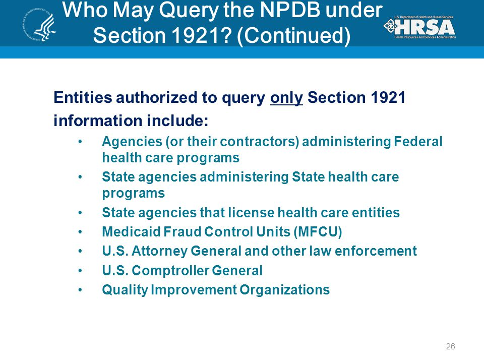 Who May Query the NPDB under Section 1921.