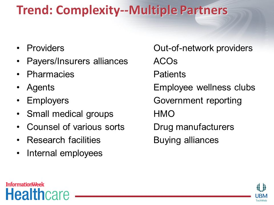Trend: Complexity--Multiple Partners ProvidersOut-of-network providers Payers/Insurers alliancesACOs PharmaciesPatients AgentsEmployee wellness clubs EmployersGovernment reporting Small medical groupsHMO Counsel of various sortsDrug manufacturers Research facilitiesBuying alliances Internal employees