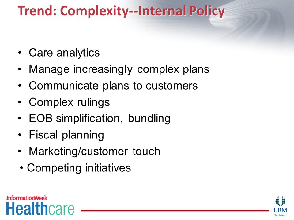 Trend: Complexity--Internal Policy Care analytics Manage increasingly complex plans Communicate plans to customers Complex rulings EOB simplification,