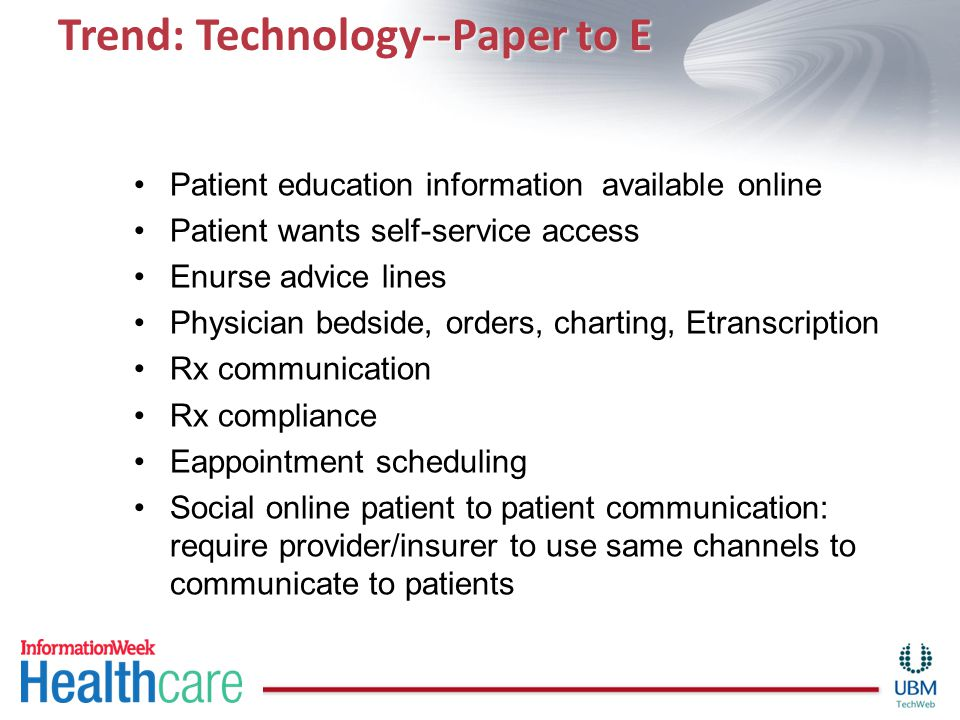 Trend: Technology--Paper to E Patient education information available online Patient wants self-service access Enurse advice lines Physician bedside, orders, charting, Etranscription Rx communication Rx compliance Eappointment scheduling Social online patient to patient communication: require provider/insurer to use same channels to communicate to patients