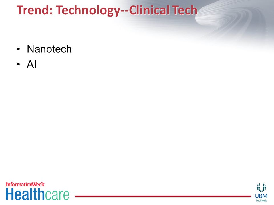 Trend: Technology--Clinical Tech Nanotech AI