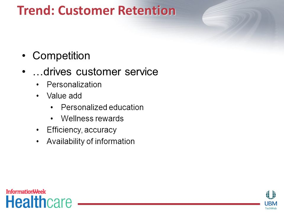 Trend: Customer Retention Competition …drives customer service Personalization Value add Personalized education Wellness rewards Efficiency, accuracy