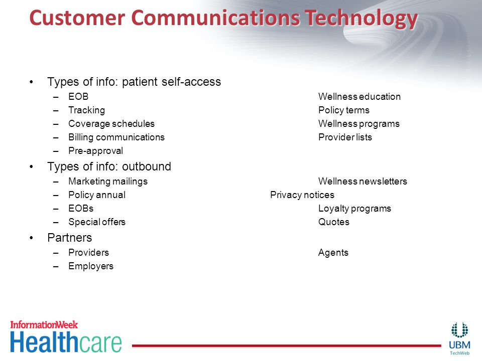 Customer Communications Technology Types of info: patient self-access –EOBWellness education –TrackingPolicy terms –Coverage schedulesWellness program
