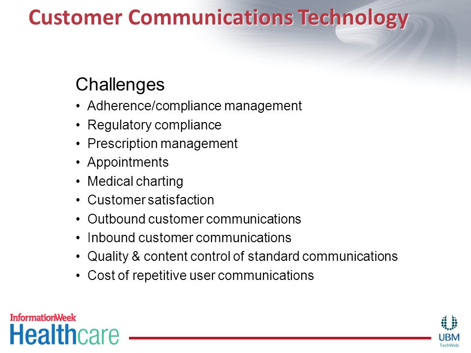 Customer Communications Technology Challenges Adherence/compliance management Regulatory compliance Prescription management Appointments Medical charting Customer satisfaction Outbound customer communications Inbound customer communications Quality & content control of standard communications Cost of repetitive user communications