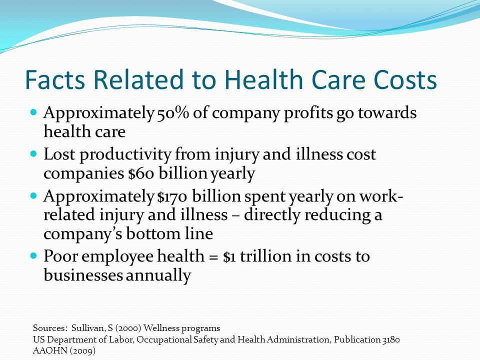 Facts Related to Health Care Costs Approximately 50% of company profits go towards health care Lost productivity from injury and illness cost companies $60 billion yearly Approximately $170 billion spent yearly on work- related injury and illness – directly reducing a company's bottom line Poor employee health = $1 trillion in costs to businesses annually Sources: Sullivan, S (2000) Wellness programs US Department of Labor, Occupational Safety and Health Administration, Publication 3180 AAOHN (2009)