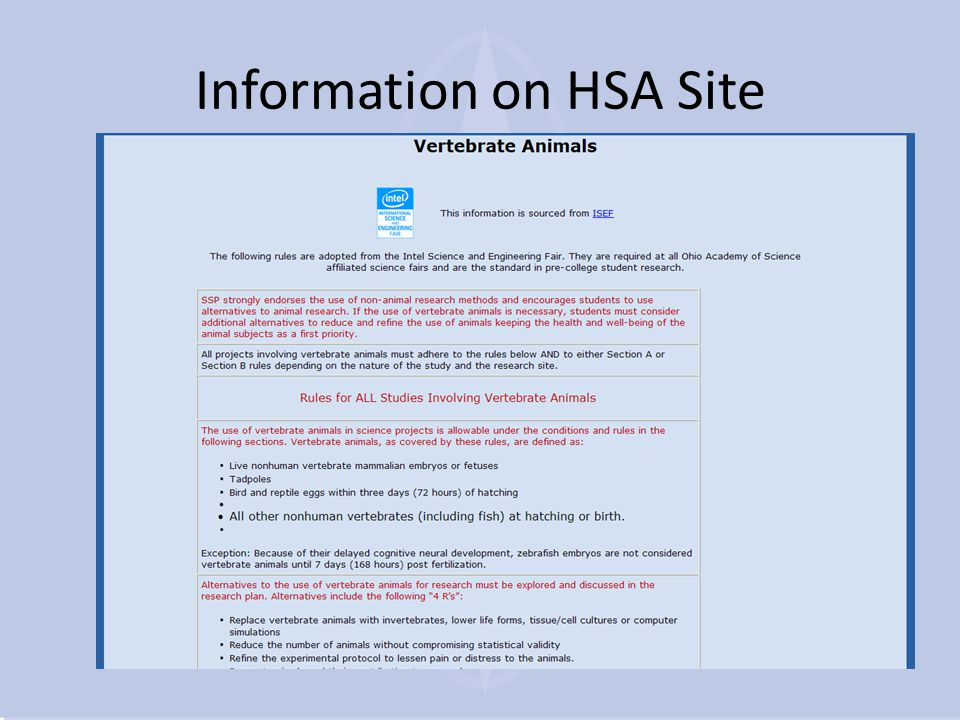 Information on HSA Site