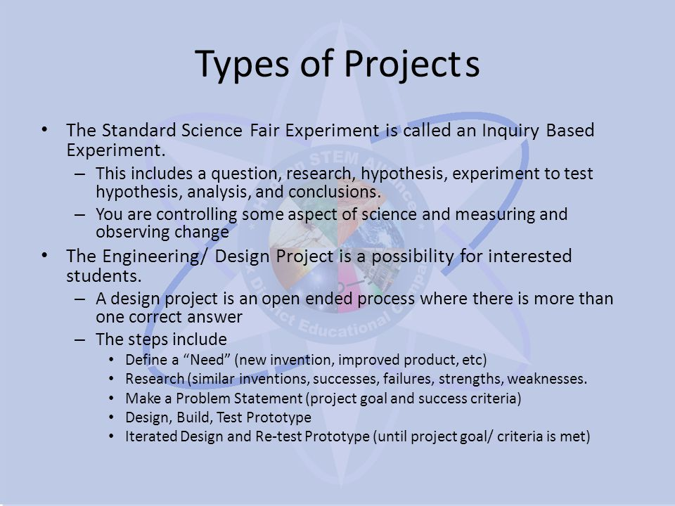 Types of Projects (continued) Computer Science Program – A software program is really a specialized case of engineering design.