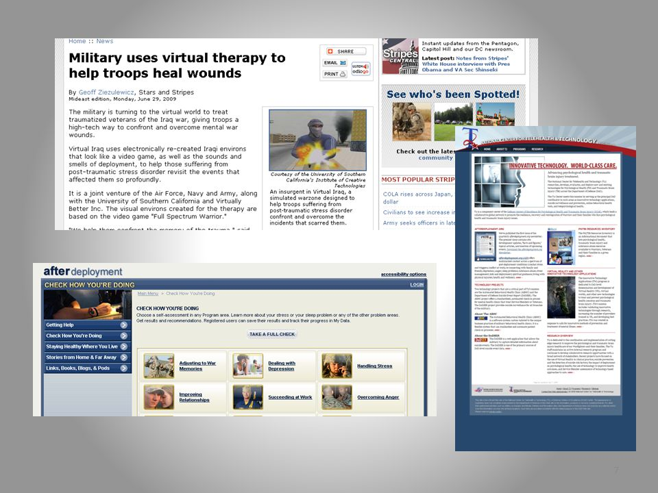 Technology and Telehealth Virtual Worlds Virtual Reality Virtual Exposure Therapy Second Life 6