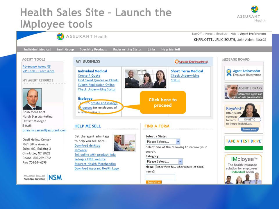 Health Sales Site – Launch the IMployee tools Click here to proceed