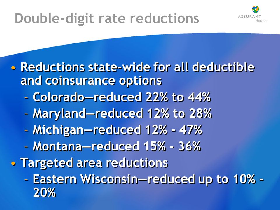 Double-digit rate reductions Reductions state-wide for all deductible and coinsurance options –Colorado—reduced 22% to 44% –Maryland—reduced 12% to 28% –Michigan—reduced 12% - 47% –Montana—reduced 15% - 36% Targeted area reductions –Eastern Wisconsin—reduced up to 10% - 20% Reductions state-wide for all deductible and coinsurance options –Colorado—reduced 22% to 44% –Maryland—reduced 12% to 28% –Michigan—reduced 12% - 47% –Montana—reduced 15% - 36% Targeted area reductions –Eastern Wisconsin—reduced up to 10% - 20%