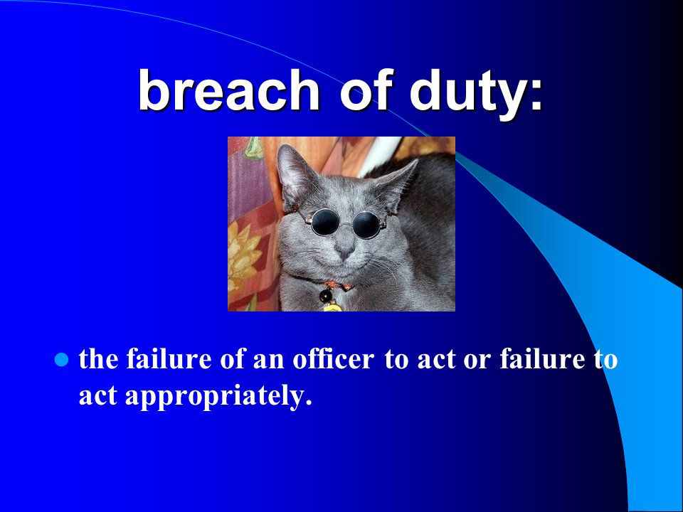 breach of duty: the failure of an officer to act or failure to act appropriately.