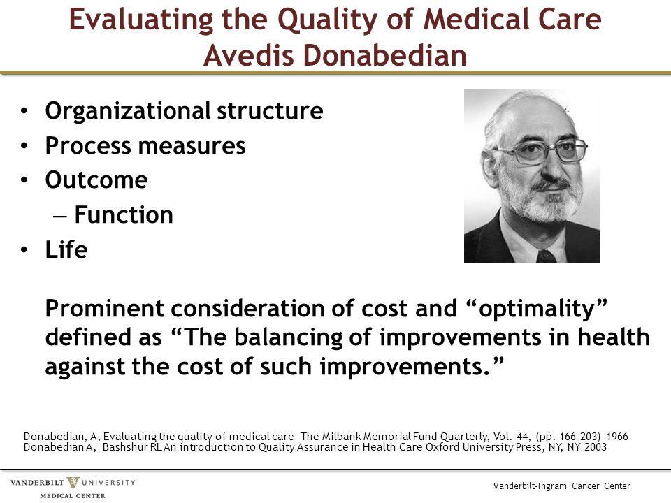 Vanderbilt-Ingram Cancer Center Evaluating the Quality of Medical Care Avedis Donabedian Organizational structure Process measures Outcome – Function