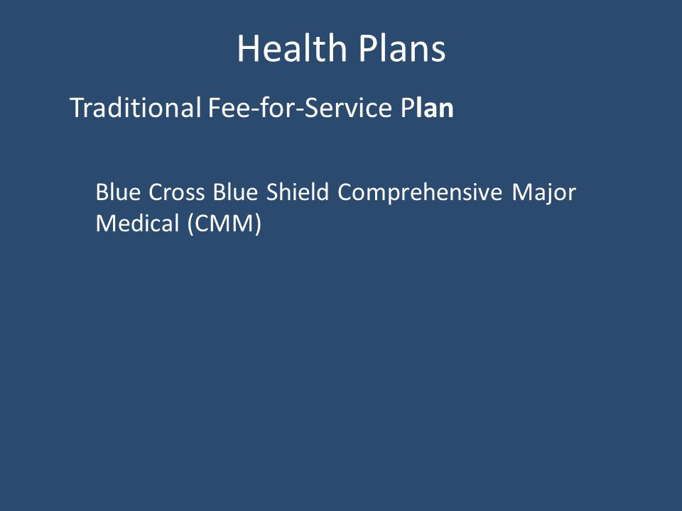 Health Plans Traditional Fee-for-Service Plan Blue Cross Blue Shield Comprehensive Major Medical (CMM)