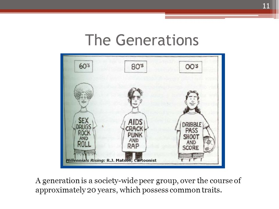 The Generations 11 A generation is a society-wide peer group, over the course of approximately 20 years, which possess common traits.