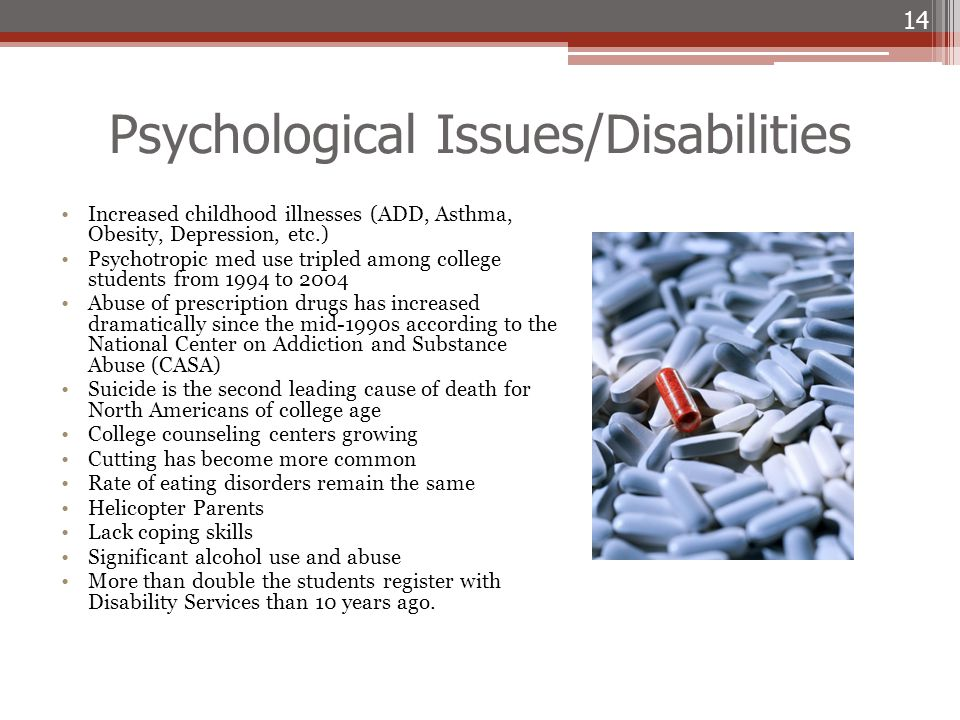 Psychological Issues/Disabilities Increased childhood illnesses (ADD, Asthma, Obesity, Depression, etc.) Psychotropic med use tripled among college st