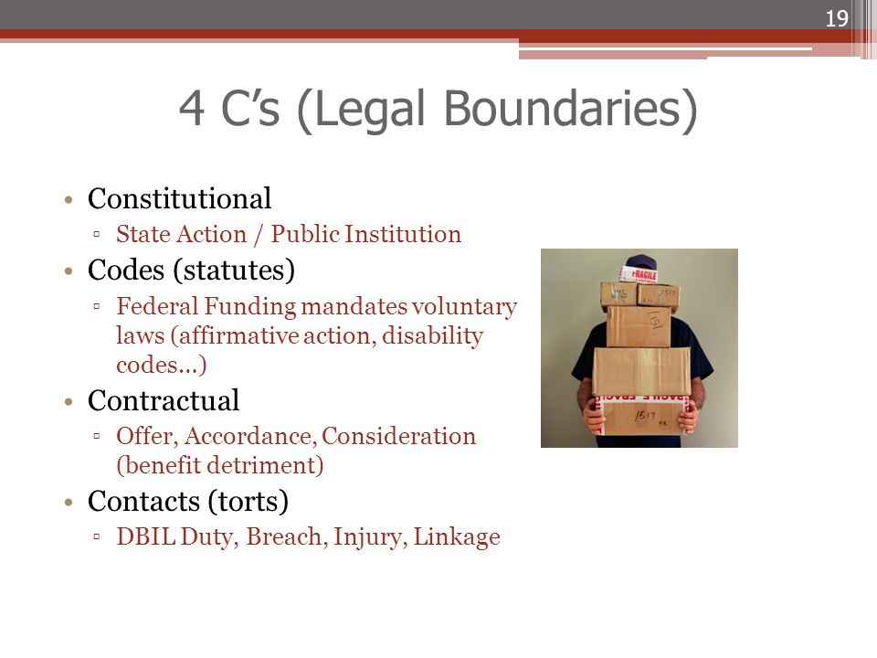 4 C's (Legal Boundaries) Constitutional ▫State Action / Public Institution Codes (statutes) ▫Federal Funding mandates voluntary laws (affirmative acti