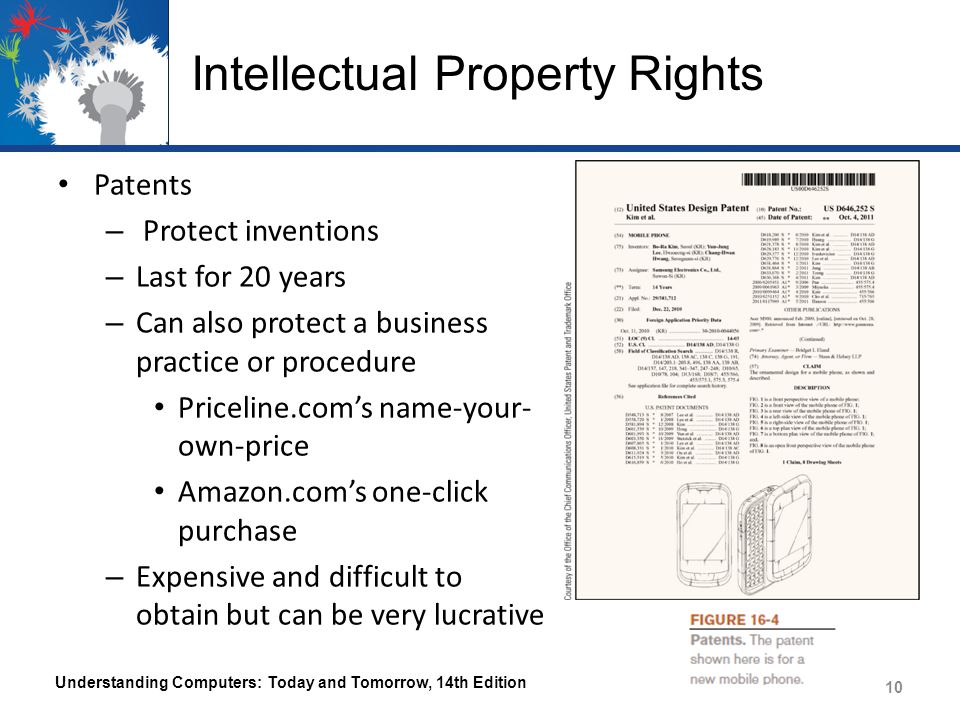 Intellectual Property Rights Patents – Protect inventions – Last for 20 years – Can also protect a business practice or procedure Priceline.com's name