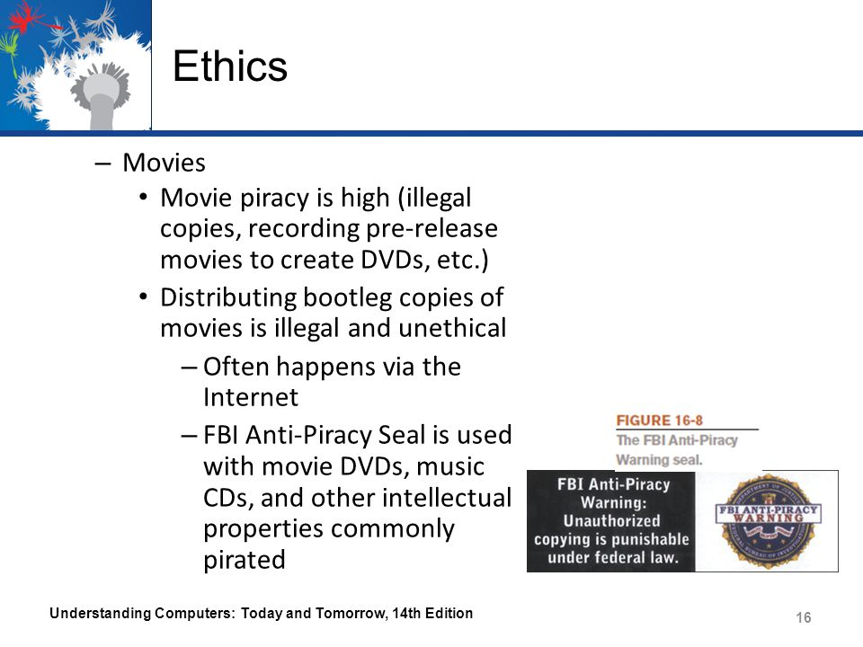 Ethics – Movies Movie piracy is high (illegal copies, recording pre-release movies to create DVDs, etc.) Distributing bootleg copies of movies is ille