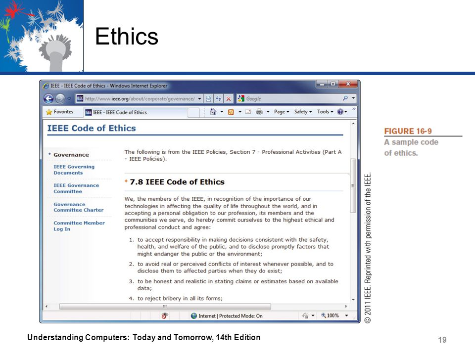 Ethics Understanding Computers: Today and Tomorrow, 14th Edition 19