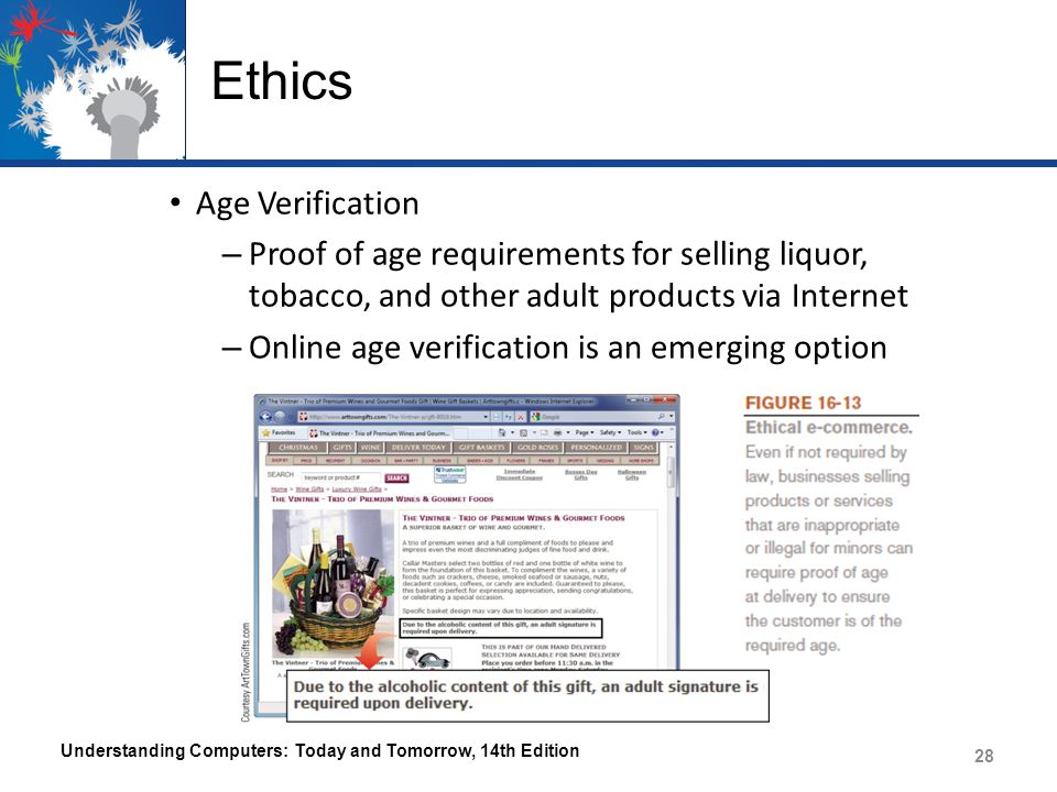 Ethics Age Verification – Proof of age requirements for selling liquor, tobacco, and other adult products via Internet – Online age verification is an