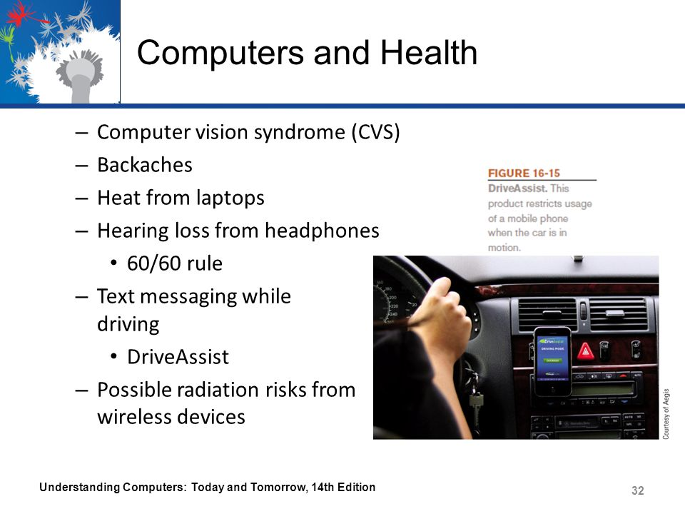 Computers and Health – Computer vision syndrome (CVS) – Backaches – Heat from laptops – Hearing loss from headphones 60/60 rule – Text messaging while