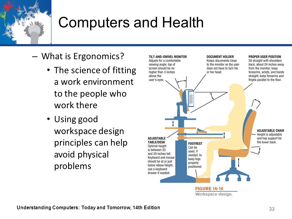 Computers and Health – What is Ergonomics? The science of fitting a work environment to the people who work there Using good workspace design principl