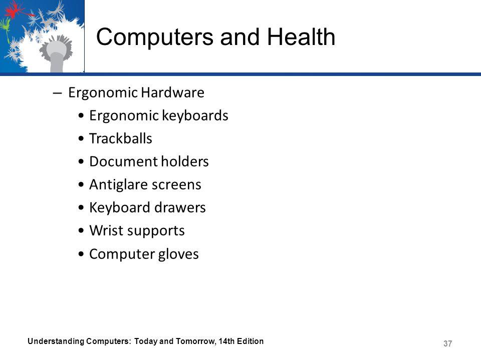 Computers and Health – Ergonomic Hardware Ergonomic keyboards Trackballs Document holders Antiglare screens Keyboard drawers Wrist supports Computer g