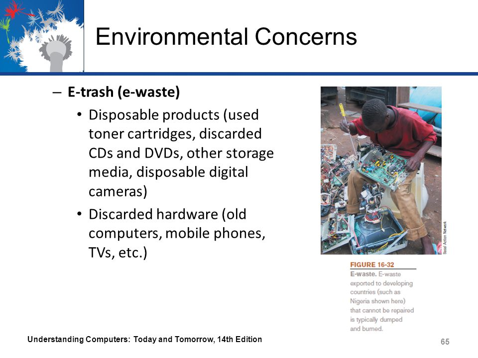 Environmental Concerns – E-trash (e-waste) Disposable products (used toner cartridges, discarded CDs and DVDs, other storage media, disposable digital