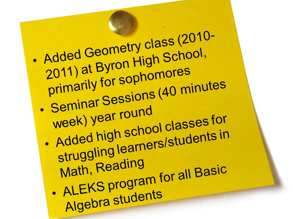 Added Geometry class (2010- 2011) at Byron High School, primarily for sophomores Seminar Sessions (40 minutes week) year round Added high school classes for struggling learners/students in Math, Reading ALEKS program for all Basic Algebra students