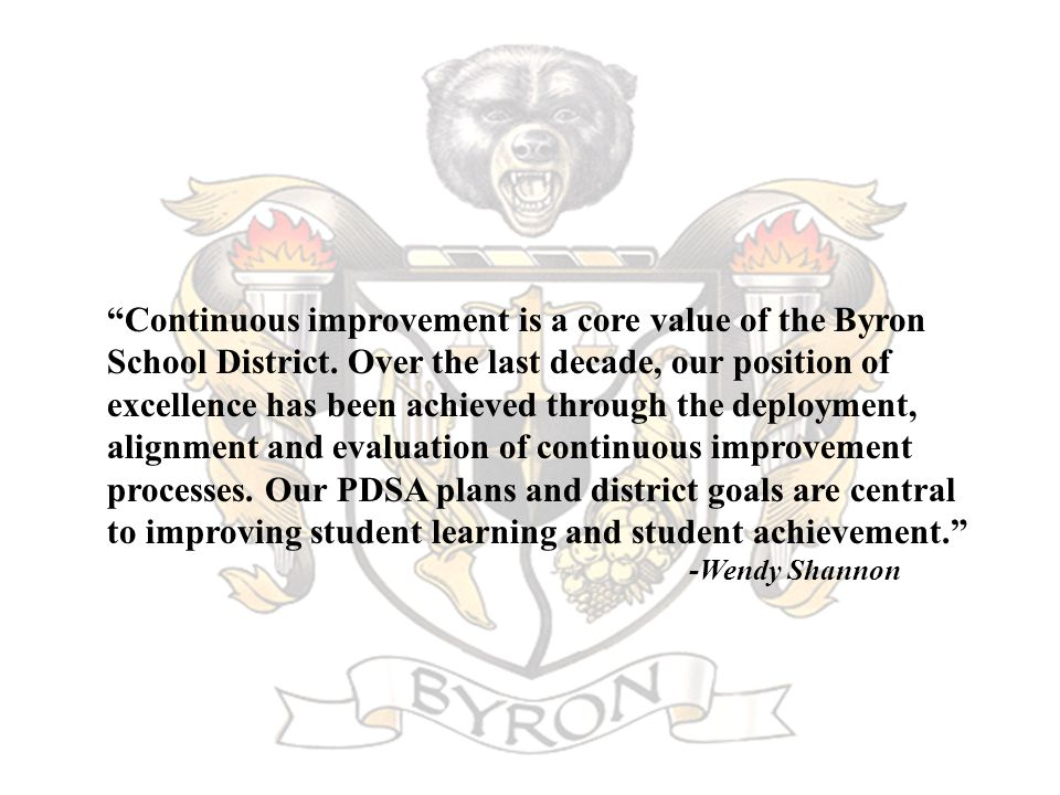 Continuous improvement is a core value of the Byron School District.