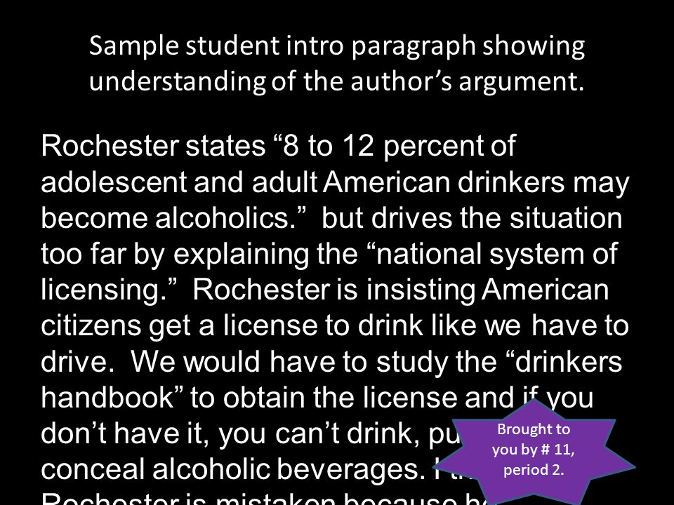 Sample student intro paragraph showing understanding of the author's argument.