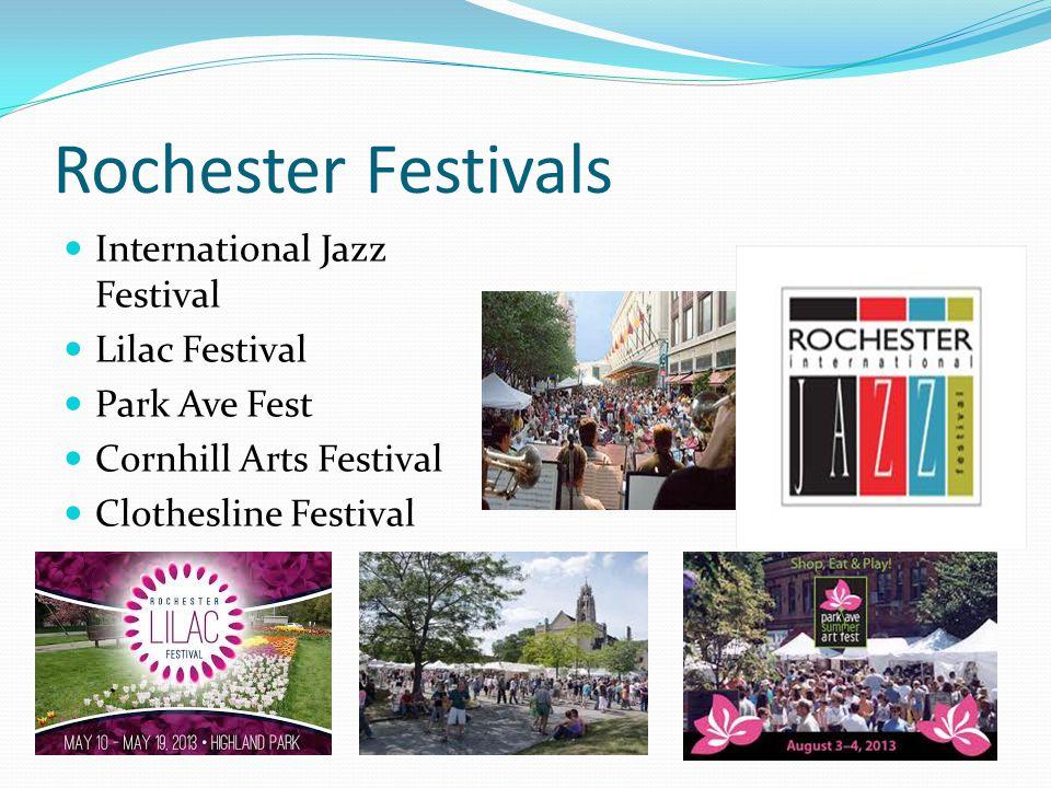 Rochester Festivals International Jazz Festival Lilac Festival Park Ave Fest Cornhill Arts Festival Clothesline Festival