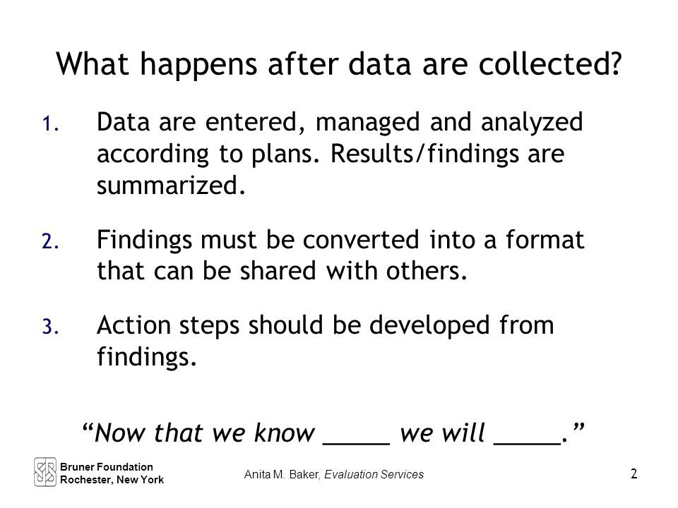 What happens after data are collected. 1.