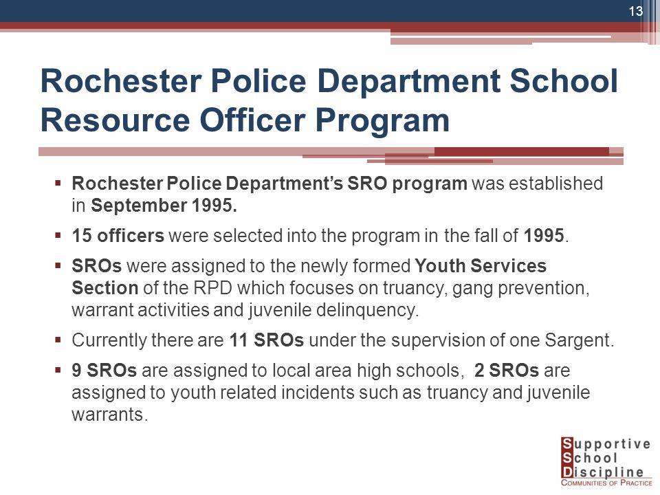  Rochester Police Department's SRO program was established in September 1995.