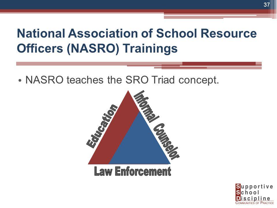 National Association of School Resource Officers (NASRO) Trainings NASRO teaches the SRO Triad concept.