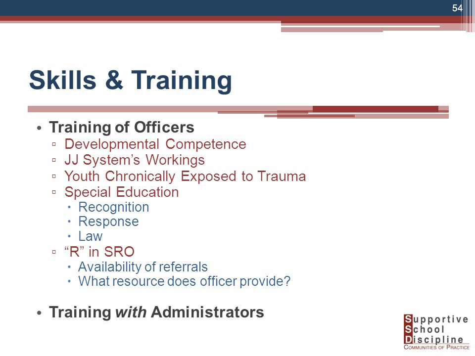 Skills & Training Training of Officers ▫ Developmental Competence ▫ JJ System's Workings ▫ Youth Chronically Exposed to Trauma ▫ Special Education  Recognition  Response  Law ▫ R in SRO  Availability of referrals  What resource does officer provide.