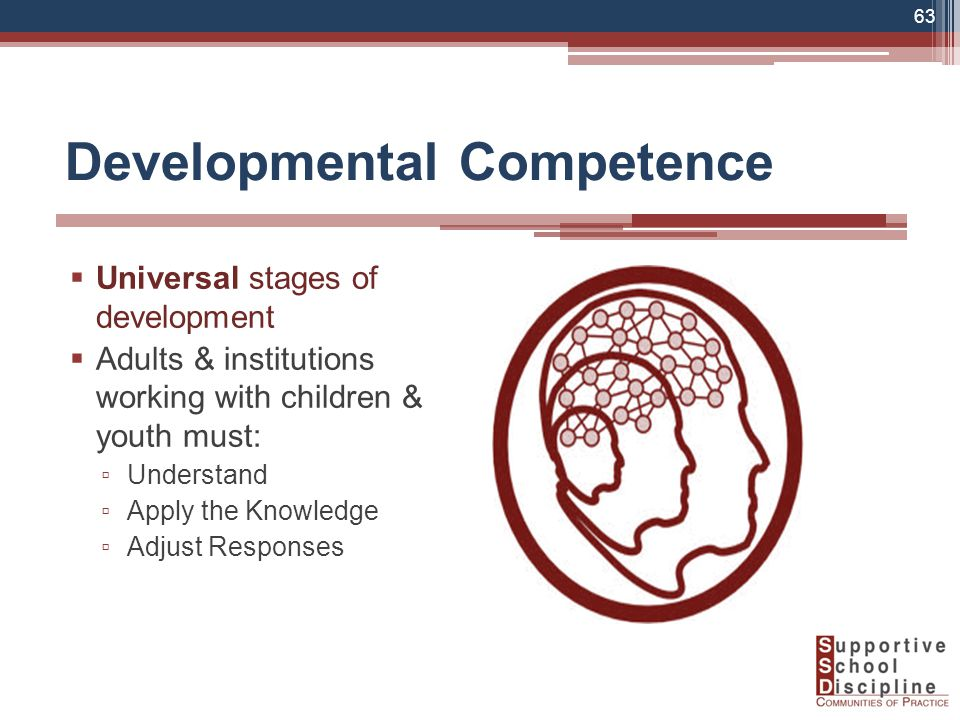 Developmental Competence  Universal stages of development  Adults & institutions working with children & youth must: ▫ Understand ▫ Apply the Knowledge ▫ Adjust Responses 63