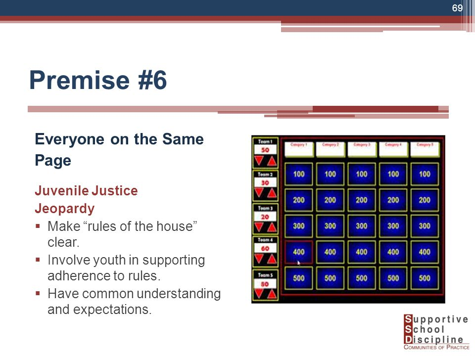 Premise #6 Everyone on the Same Page Juvenile Justice Jeopardy  Make rules of the house clear.