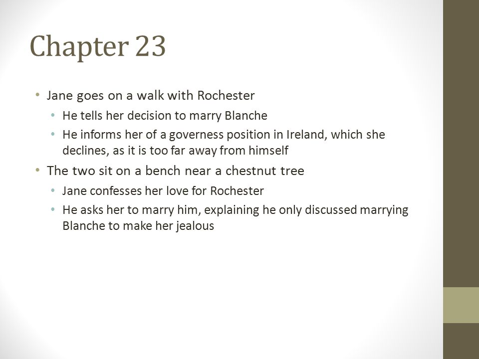 Chapter 23 Jane goes on a walk with Rochester He tells her decision to marry Blanche He informs her of a governess position in Ireland, which she declines, as it is too far away from himself The two sit on a bench near a chestnut tree Jane confesses her love for Rochester He asks her to marry him, explaining he only discussed marrying Blanche to make her jealous
