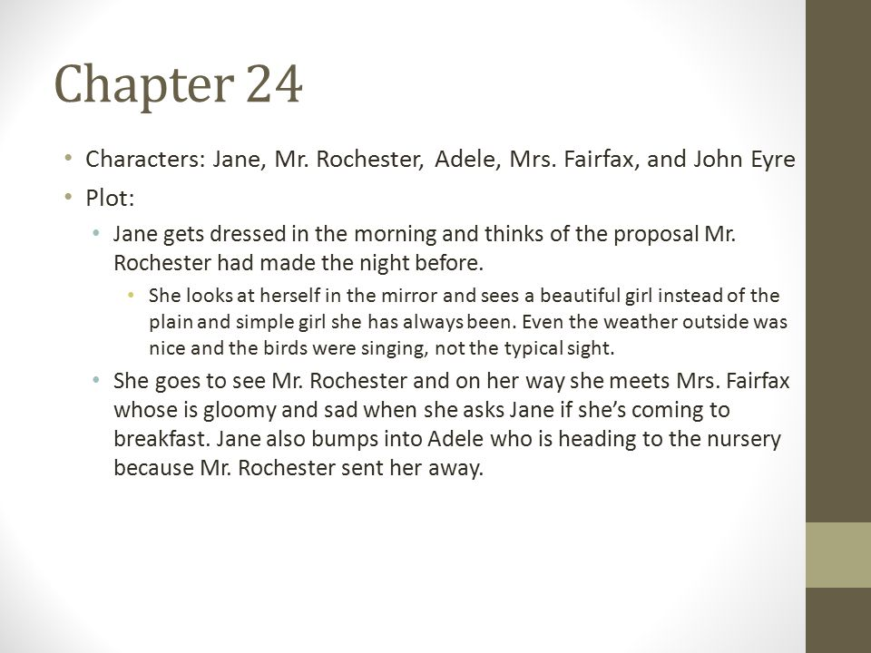 Chapter 24 Characters: Jane, Mr. Rochester, Adele, Mrs.