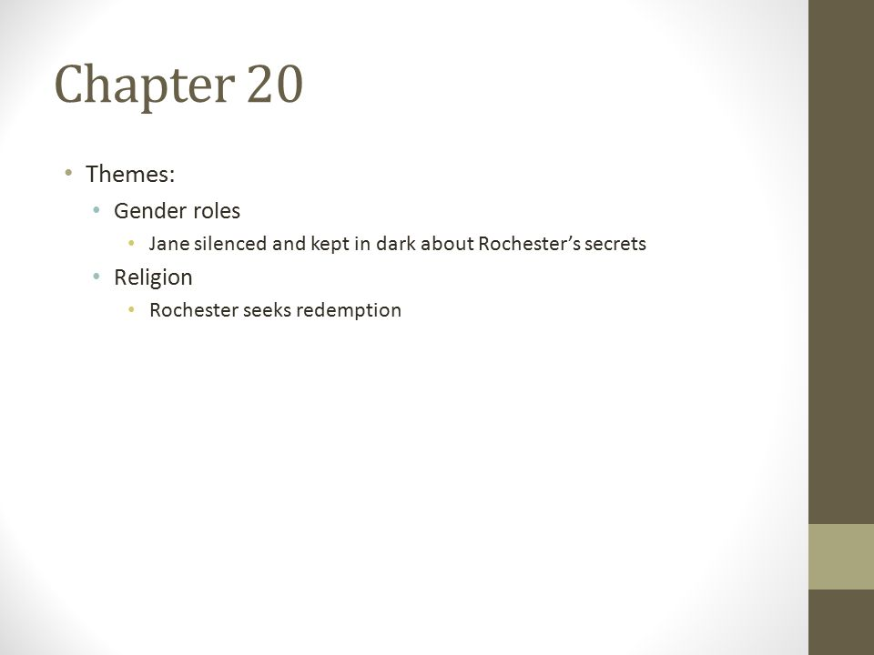 Chapter 20 Themes: Gender roles Jane silenced and kept in dark about Rochester's secrets Religion Rochester seeks redemption