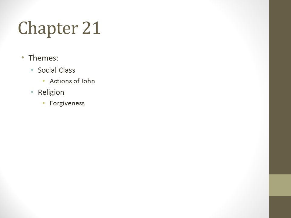 Chapter 21 Themes: Social Class Actions of John Religion Forgiveness