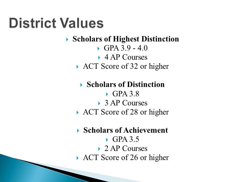  Scholars of Highest Distinction  GPA 3.9 - 4.0  4 AP Courses  ACT Score of 32 or higher  Scholars of Distinction  GPA 3.8  3 AP Courses  ACT