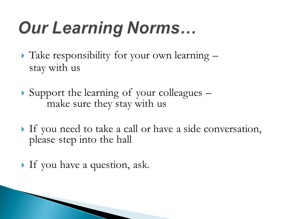  Take responsibility for your own learning – stay with us  Support the learning of your colleagues – make sure they stay with us  If you need to take a call or have a side conversation, please step into the hall  If you have a question, ask.