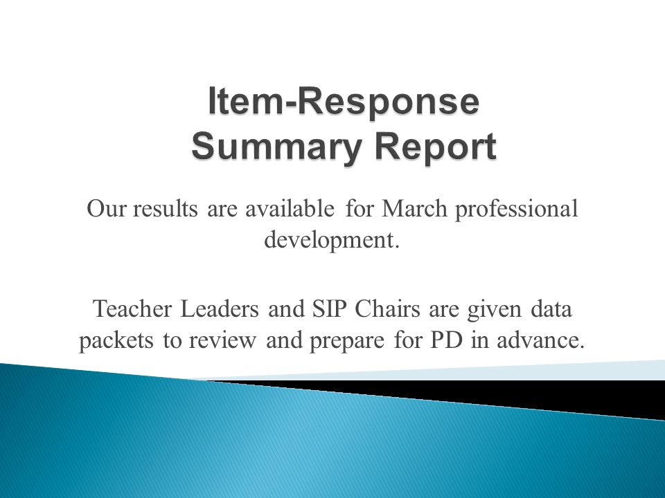 Our results are available for March professional development.