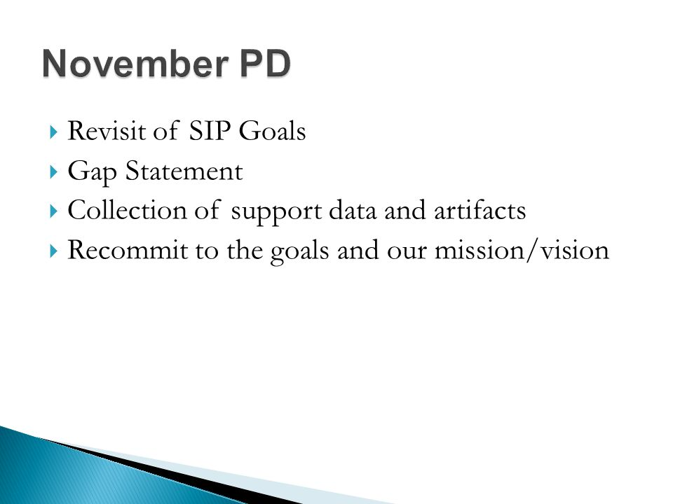  Revisit of SIP Goals  Gap Statement  Collection of support data and artifacts  Recommit to the goals and our mission/vision