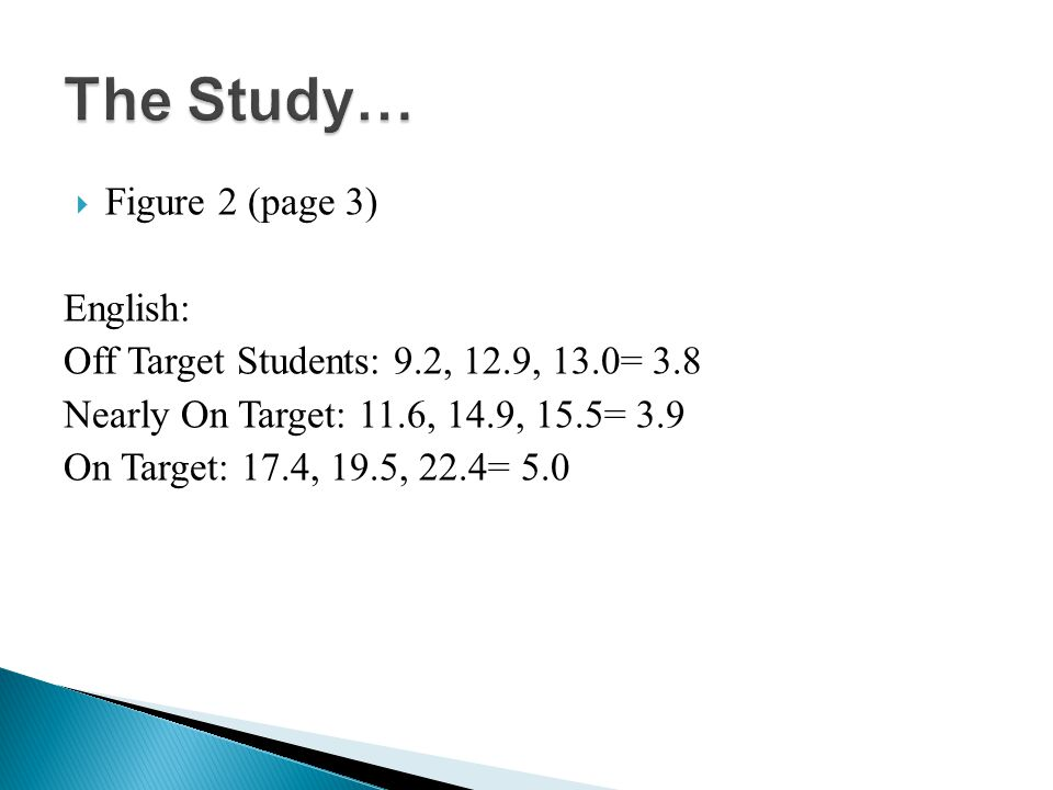 Figure 2 (page 3) English: Off Target Students: 9.2, 12.9, 13.0= 3.8 Nearly On Target: 11.6, 14.9, 15.5= 3.9 On Target: 17.4, 19.5, 22.4= 5.0