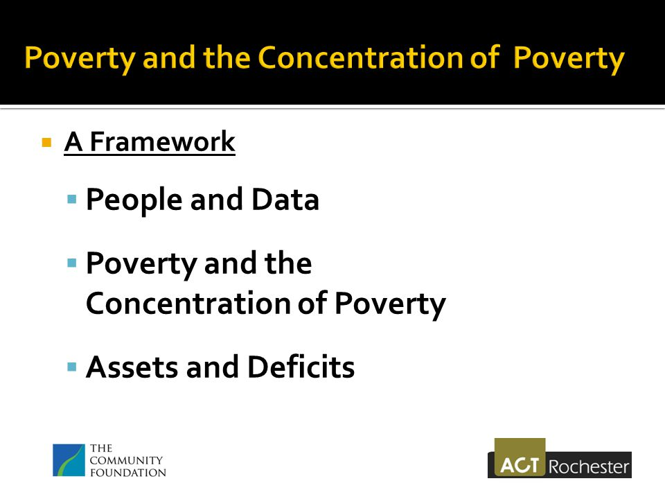  A Framework  People and Data  Poverty and the Concentration of Poverty  Assets and Deficits